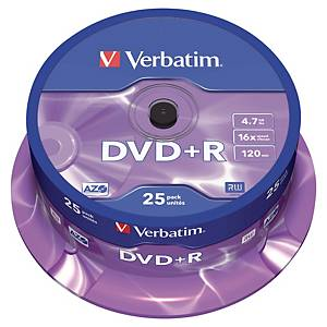 Verbatim DVD+R 4.7Gb 1 - 16X Spindle of 25