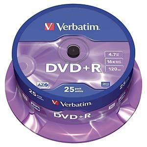 DVD+R Verbatim, 4,7 GB, 120 min., 16x, štandardné, 25 kusov