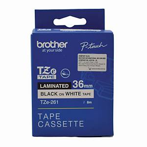 Brother TZE-261 Tape 36mm x 8m Black on White