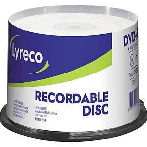 DVD-R+ Lyreco 4,7 Go, vitesse 16x, cloche de 50
