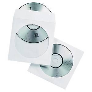 Opberghoesjes voor Cd en Dvd, papier, met venster, pak van 50 hoesjes