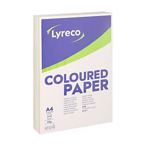 Lyreco gekleurd A4 papier, 80 g, pastel assortiment, per 100 vel