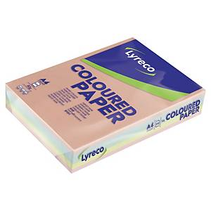 Copy paper Lyreco A4, 80 g/m2, pastel colours assorted, pack of 500 sheets