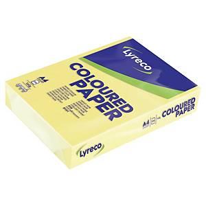 Papír barevný Lyreco A4 160g/m2, pastelový odstín, světl. žlutá, 250 listů