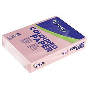 Papír barevný Lyreco A4 160g/m2, pastelový odstín, růžová, 250 listů