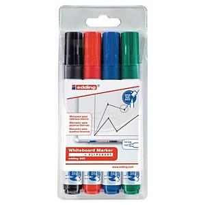 Marqueur Edding 660 - effaçable à sec - pointe ogive moyenne - 4 coloris