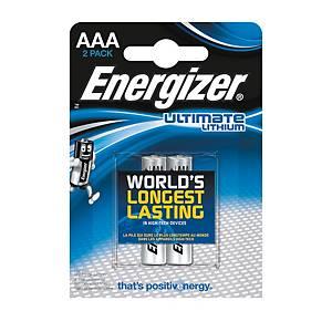 Batérie Energizer Ultimate Lithium, AAA/LR3, lítiové, 2 kusy v balení
