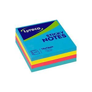 ลีเรคโก กระดาษโน้ตชนิดมีกาว 3  X3   สีฟ้า,เหลือง,ชมพู,ม่วง บรรจุ 320แผ่น แพ็ค4