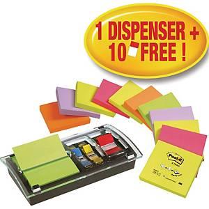 Dispenser Post-it, med Z-notes blokke og indexfaner, sort