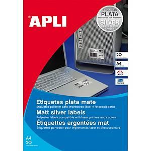 Caixa 20 etiquetas de poliéster Apli 10071 - 210x297 mm - metalizado
