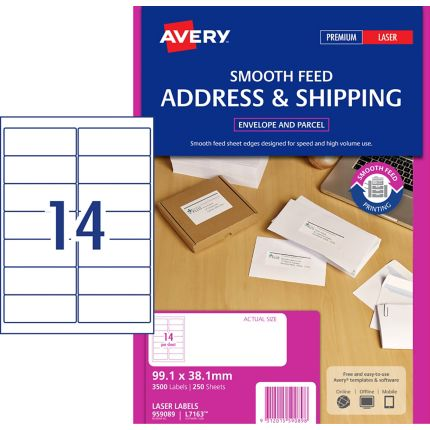 Avery Smooth Feed Address Labels Laser Printers 991x381mm 3500