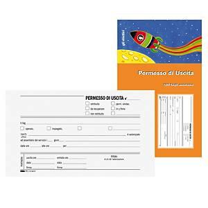 Blocco permessi di uscita Edipro 100 fogli carta semplice 17 x 9,9 cm
