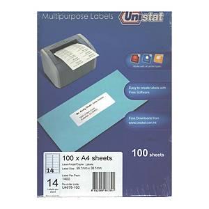 Unistat 多用途標籤 U4678 99.1 x 38.1毫米 每張14個標籤