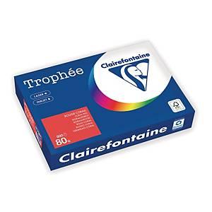 Clairefontaine Trophee 8175 väripaperi A4 80g korallinpunainen, 1kpl=500 arkkia