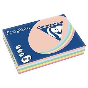 Farvet papir Trophée, A4, 80g, ass. pastelfarver 1703, pakke a 5x100 ark