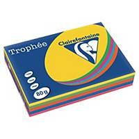 Farget papir Trophée, A4 80 g, ass. sterke farger 1704, pakke à 5x100 ark