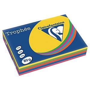 Färgat papper Trophée 1704, A4, 80g, utv. starka färger, förp. med 5 x 100 ark