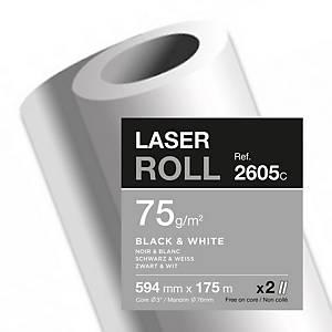 Papier traceur Clairefontaine 2605C, blanc, 75 g, l 594 mm x L 175 m, 2 rouleaux