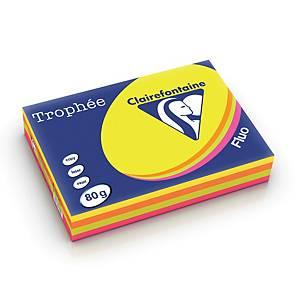 Farvet papir Trophée, A4, 80g, ass. neon farver 1705, pakke a 4x125 ark