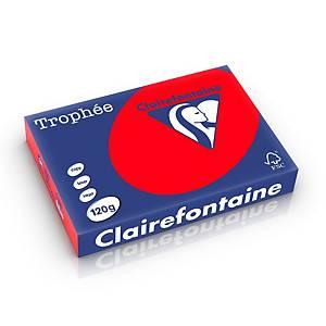 Papier A4 coloré Clairefontaine Trophée 1227, 120 g, rouge corail, 250 feuilles