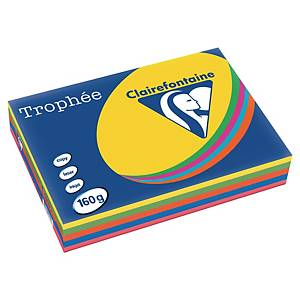 Papier couleur A4 Clairefontaine Trophée - 160 g - assortis - 250 feuilles