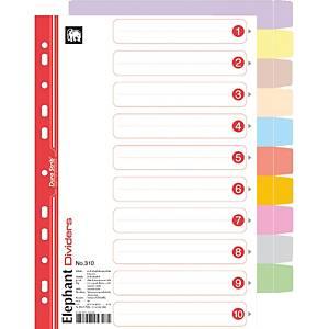 ตราช้าง อินเด็กซ์กระดาษ 310 120 แกรม 10 หยัก A4 10 สี