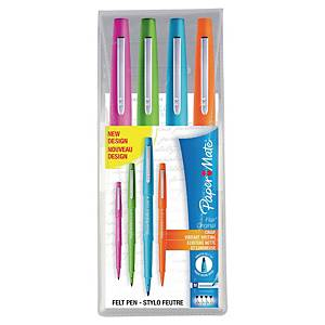 Paper Mate® Flair stiften, roze/groen/blauw/oranje, etui van 4 stiften