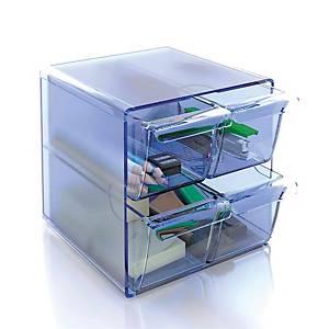 Mini módulo de organización Archivo 2000 - 4 cajones - cristal