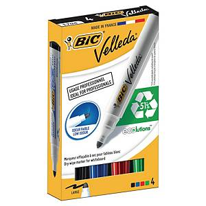 Marqueur Bic Velleda 1701 - effaçable à sec - pointe ogive moyenne - 4 coloris