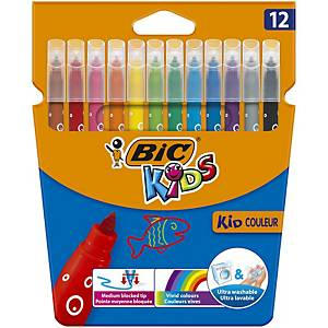 Bic Kids Kid Couleur Felt Tip Colouring Pens Med Point - Ast. Colours, Pack 12