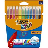 Bic Kids Kid Couleur Felt Tip Colouring Pens Med Point - Ast. Colours, Pack 12