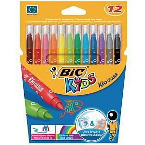 Feutres Bic® Kids Kid Couleur, couleurs assorties, la boîte de 12 feutres