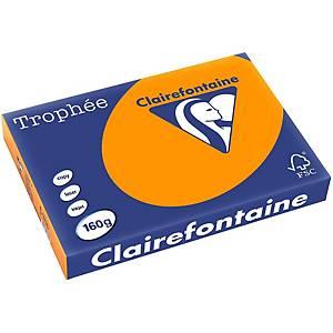 Papier couleur A4 Clairefontaine Trophée - 160 g - orange vif - 250 feuilles