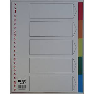 IndX neutral dividers 5 tabs PP 23-holes
