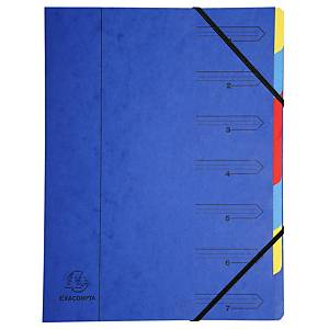 Exacompta sorteermap met 7 vakken, A4, karton 400 g, blauw, per map