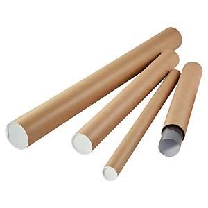 Ronde verzendkokers met doppen, A2+, 500 x diameter 80 mm, bruin, per koker