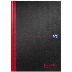 Oxford Black n  Red A4 Hardback Casebound Notebook Ruled 192 Page Recycled Black