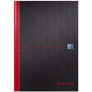 Oxford Blk n  Red A4 H/Back Casebound N/Bk Narrow Ruled with Margin 96 P Black