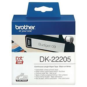 Etikettrull Brother DK-22205, endeløs til QL700/QL1100, 62 mm x 30,48 m, hvit