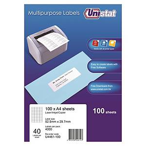 Unistat 多用途標籤 U4461 52.5 x 29.7毫米 每張40個標籤