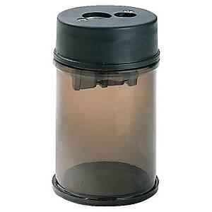Taille-crayon avec réservoir, 2 trous, noir transparent, la pièce