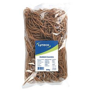 Lyreco keskeny gumigyűrűk, 150 mm átmérő, 500 g/csomag