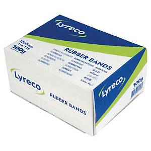 Lyreco rubber bands, 120 x 5 mm, natural-coloured, 100 g