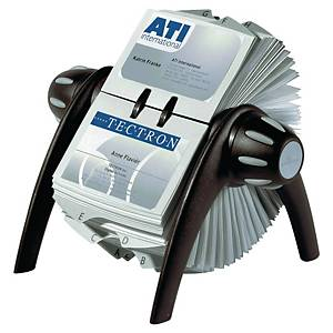 Durable Visifix Black Flip Rotary Business Card File
