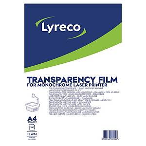 LYRECO A4 PLAIN LASER PRINTER TRANSPARENCY FILM - BOX OF 100 SHEETS