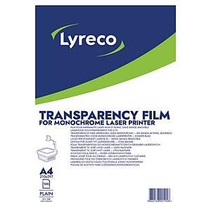 Transparents Lyreco pour imprimante laser monochrome, la boîte de 100 diapos