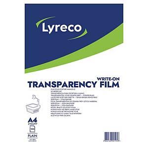 OVERHEAD LYRECO TRANSPARENT SKRIVEFILM A4 100MY PAKKE Á 100 STK.