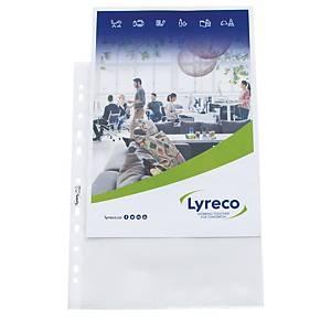 Pochette perforée Lyreco Standard, A4, PP 80 microns, granulée, les 100 pièces
