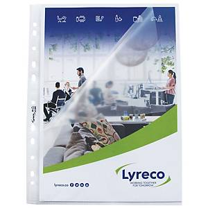 LYRECO A4 MULTI-PUNCHED SIDE/TOP-OPEN PLASTIC POCKETS 80 MICRONS - BOX OF 25