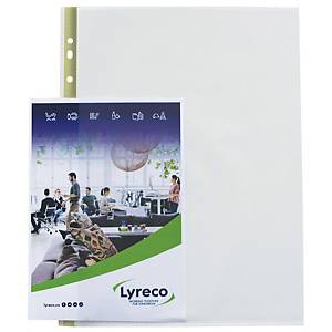 LYRECO A4 MULTI-PUNCHED SIDE-OPEN PLASTIC POCKETS 80 MICRONS - BOX OF 25